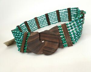 Earthbound Trading Co Seed Bead Belt 32 34 Beaded Wood Boho Stretch Blue Green