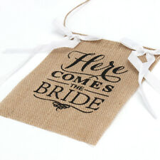 ''Here Comes The Bride'' Burlap Bunting Banner Sign Rustic Wedding Party Boy Dec