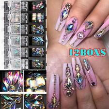 12 Boxes 3D AB Diamond Gems Nail Glitter Rhinestone Crystal Glass Nail Art Decor