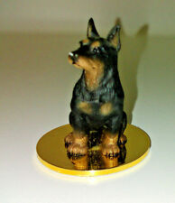"Doberman Pinscher Figurine 1.75"" Dog Sitting Gold Disk Tiny Ones 1992 Resin"