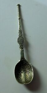 hallmarked solid silver miniature anointing spoon 3.4g - B'ham 1936 - 72mm long