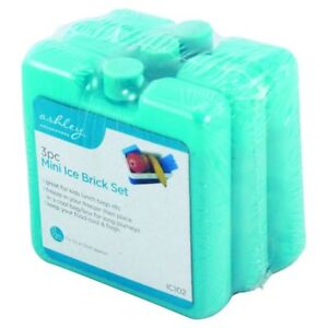 3 Mini Ice Brick Blocks Freezer Cooler Bag Lunch Box Picnic Travel Reusable BLUE