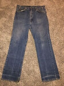 Vintage Levis 517 Orange Tab Jeans Distressed Meas 36x32 Made in USA