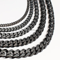 3/5/7/9/11mm Necklace for Men Chain Stainless Steel Black Tone Curb Cuban Links