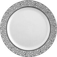 Elegant Wedding Party Disposable Plastic Plates Inspiration White - Silver 10Pc