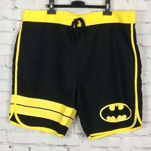 DC Comics Mens Batman Board Shorts/Swim Trunks Sz 2XL Black/Yellow Stripe Pocket