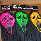 Scream Mask Lot (3) Masks Rare Funworld Fluorescent. Orange, Lime &Hot pink