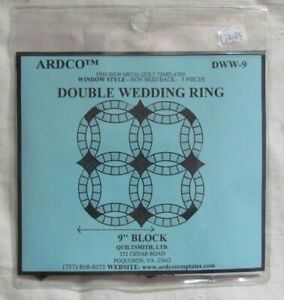 """ARDCO 9"""" Block Double Wedding Ring - Metal Quilt Template - Non Skid back 5 pcs"""