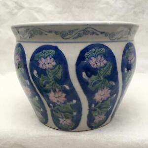 "Vintage Handpainted  Blue /White/Pink  Floral Porcelain Flowerpot 4.5 "" Tall X6"""