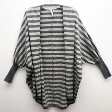 Robbi & Nikki Sz M Grey Stripe Long Open Cardigan Sweater Cashmere Wool Blend