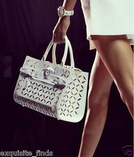 NEW VERSACE PALAZZO PERFORATED LEATHER TOTE BAG