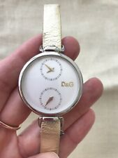 D&G Watch Women, Golden&White, Leather, Authentic