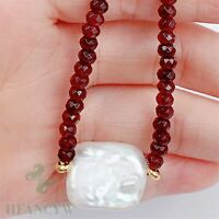 15x19mm White Baroque Pearl Pendant Ruby Necklace 18 inches Women Chic Hang Real