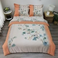 Flowers Duvet Cover Set Cotton Luxury Bedding Set Comforter Cover Flat Bed Sheet