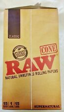 "Full Box 15 Raw Supernatural 12"" Extra Long Pre Rolled Rolling Paper Cones"