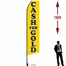 16ft Outdoor Advertising Flag With Pole Set Amp Ground Stake Cash For Gold