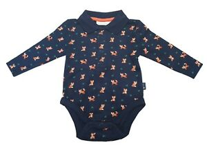 Ex Chainstore Boys Babies Fox Collared Vest Romper Top 0-4 Years NEW