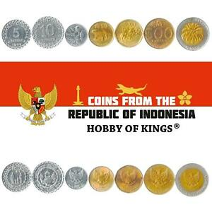 SET OF 7 COINS FROM INDONESIA. 5, 10, 25, 50, 100, 500, 1000 RUPIAH. 1974-2003
