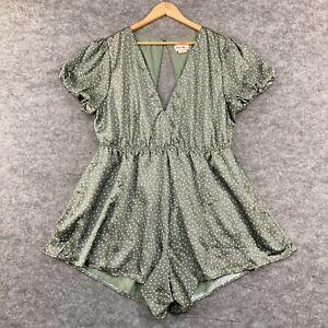 Showpo Womens Playsuit Plus Size 20 Green Polka Dot Short Sleeve Pockets 184.01