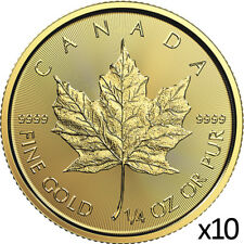 10 x 1/4 oz Gold 2019 Maple Leaf Coin - 2019 .9999 RCM - Royal Canadian Mint
