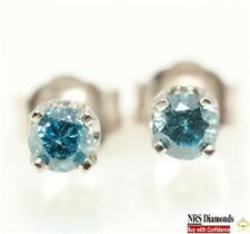 0.32ct Genuine Natural Blue Diamond 14K 14KT Solid White Gold Earring Stud Pair