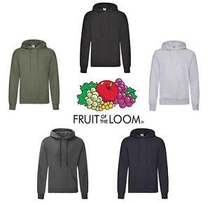 Unisex Fruit of the Loom Plain Coloured Black Grey Blue Hoodies Hooded Jumper