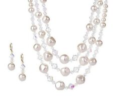 ISAAC MIZRAHI LIVE! WHITE SIMULATED PEARL GOLDTONE NECKLACE AND EARRINGS QVC