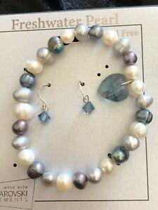 Swarovski Blue Heart Charm Freshw Cultured Pearl Bracelet & Earring Set SMRP $24