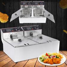 Doppelfritteuse Elektrische Friteuse 2 x 6L 5kW  Edelstahl Gastronomie 304 SG