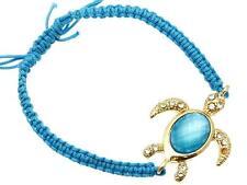 Gold Aqua Blue Rope Sea Turtle Bracelet Plated Crystal Shamballa Adjustable USA
