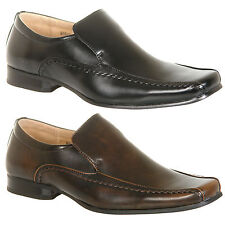 Mens Leather Lined Slip On Shoes in Black or Brown Size 6, 7, 8, 9, 10, 11, 12