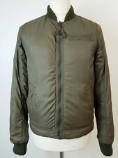 """Men's Green Raw Edge Fur Lined Bomber Jacket by Hollister Size Small 40"""" Chest"""