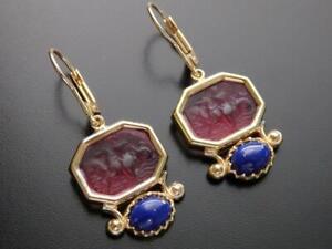 TAGLIAMONTE Earrings YGP/SS Golden Rose Venetian glass Cameo+Lapis leverbacks