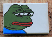"""Sad Frog (Pepe The Frog) Painting On 4""""x6"""" Canvas"""