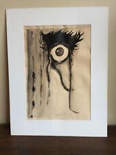 tableau ancien lavis aquarelle à définir 1977 (XXe-s) abstrait œil