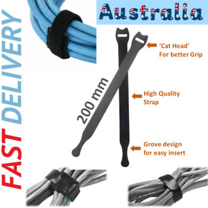 5~100pcs Cable Tie Organiser Reusable Nylon Hook Loop Strap Cord PC Tidy Black