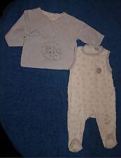 Ensemble gris-blanc grenouillère + gilet Disney Winnie l'Ourson bébé 3 mois TBE