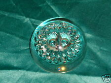 Vintage Owl Face Clear Crystal Art Glass Dome Flat Bottom Shaped Paperweight