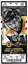 Patrice Bergeron Boston Bruins Signed Autographed 2014-15 vs Wild Ticket - S10