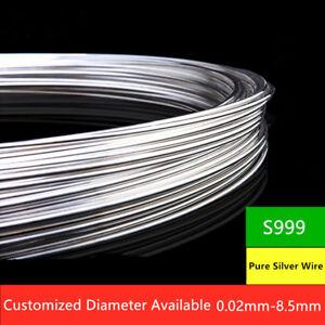1Meter 99.99% Pure Silver Round Wire Dead Soft Craft & Jewellery Wire 8Ga - 18Ga