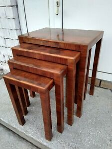 Antique French Art Deco Nesting tables set (Gigogne), Walnut, ca. 1940