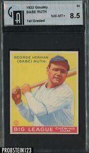 "1933 Goudey #53 Babe Ruth New York Yankees HOF GAI 8.5 NM-MT+ "" LIKELY TRIMMED """