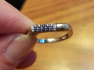 Chuck Clemency STS Blue Pave Diamond Sterling Silver Band Ring Size 6.5