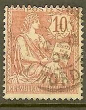 """FRANCE TIMBRE STAMP N° 124 """" TYPE MOUCHON RETOUCHE , 10 C ROSE """" OBLITERE TB"""