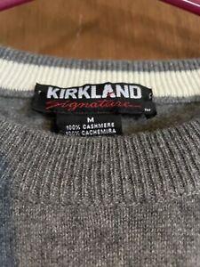 Vintage Kirkland Signature Men's 100% Cashmere Light Gray Sweater Size M