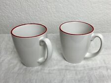 New ListingPair Of Corelle Stoneware White & Red Rim Coffee / Cups / Mugs .