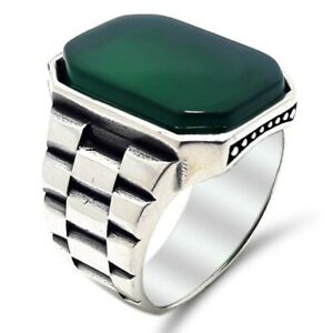 Solid 925 Sterling Silver Green Agate Stone Watch Cord Men's Ring