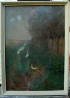 Paul Hetze 1866 Chemnitz - 1901 München Oel Malkarton Federvieh Enten Landschaft