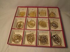 International Silver Company 12 Twelve Days of Christmas Solid Brass Ornaments