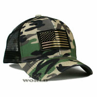 USA American Flag hat Pique Snapback hat Tactical Mesh Baseball cap- Woodland